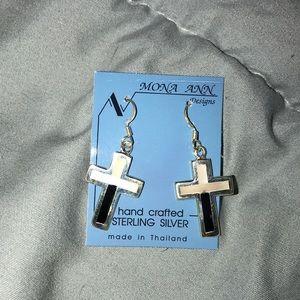 Brand new, Sterling silver cross earrings